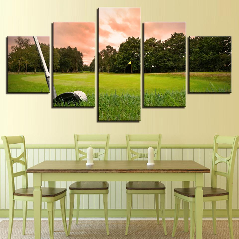 5 Pieces Sunset Golf Course HD Prints Canvas Wall Art Paintings Sale ...