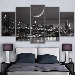 5 Piece New York Moonscape Brooklyn Bridge Canvas Wall Art Paintings - It Make Your Day