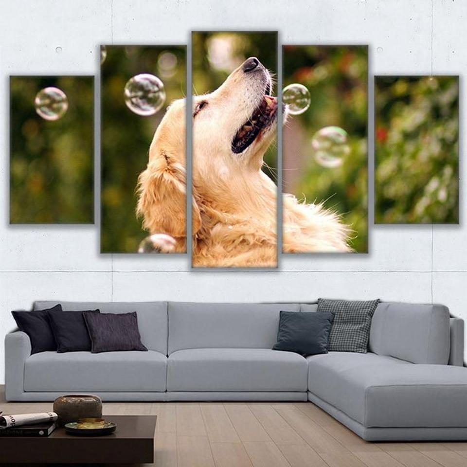 5 Pieces Dog Playing With Bubbles Canvas - It Make Your Day