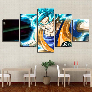 Framed 5 Piece Cartoon Dragon Ball Z Goku Super Saiyan Canvas Wall Art Paintings - It Make Your Day