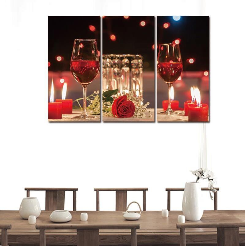 3 Piece Red Wine Cup Canvas Wall Art Paintings - It Make Your Day