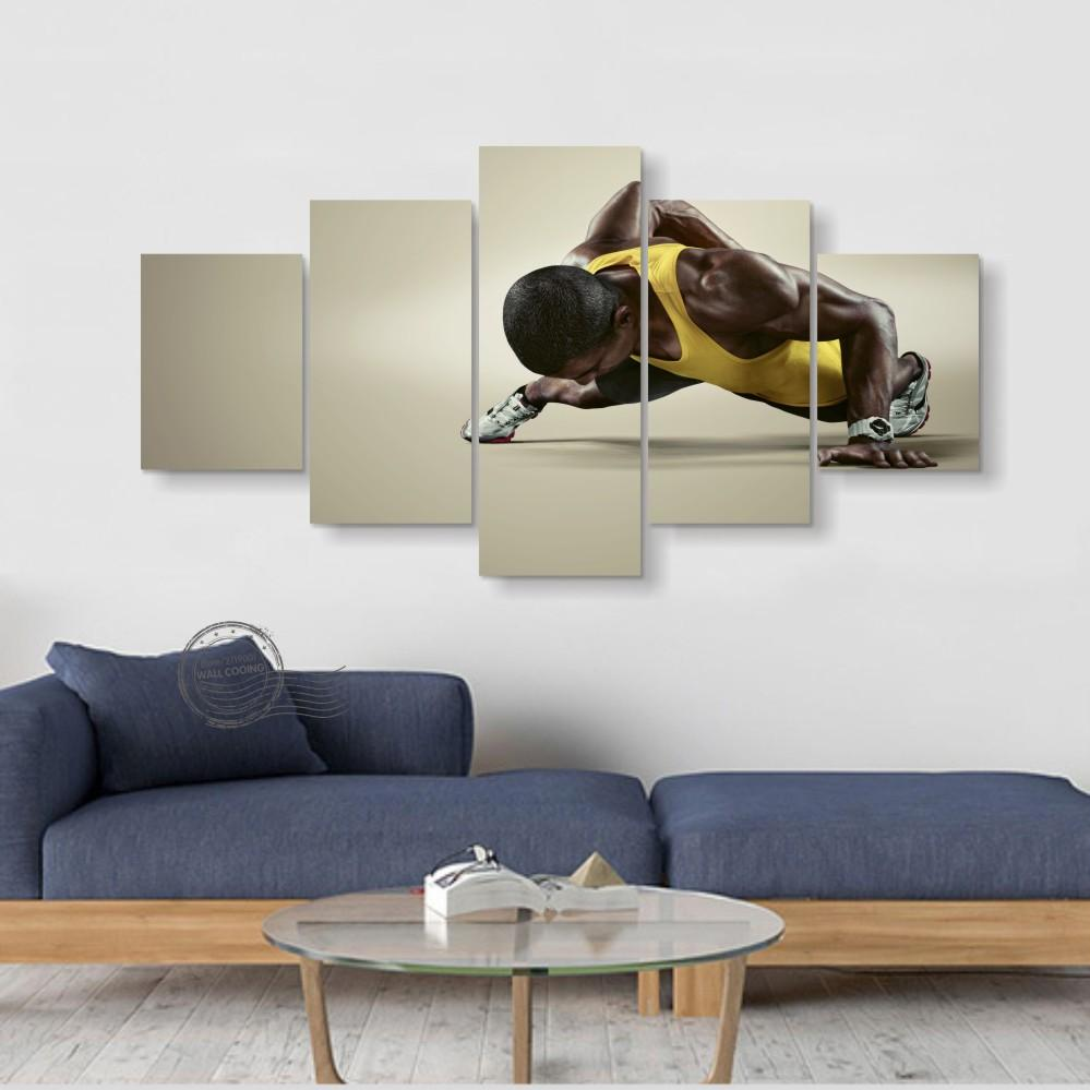 5 Piece Sports Fitness Black Skin Canvas Wall Art Paintings Sale ...
