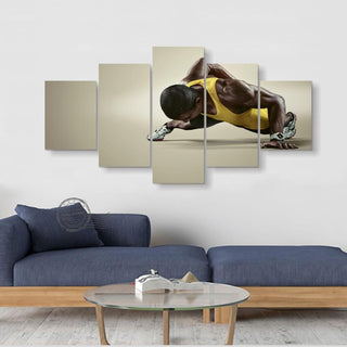 5 Piece Sports Fitness Black Skin Canvas Wall Art Paintings - It Make Your Day