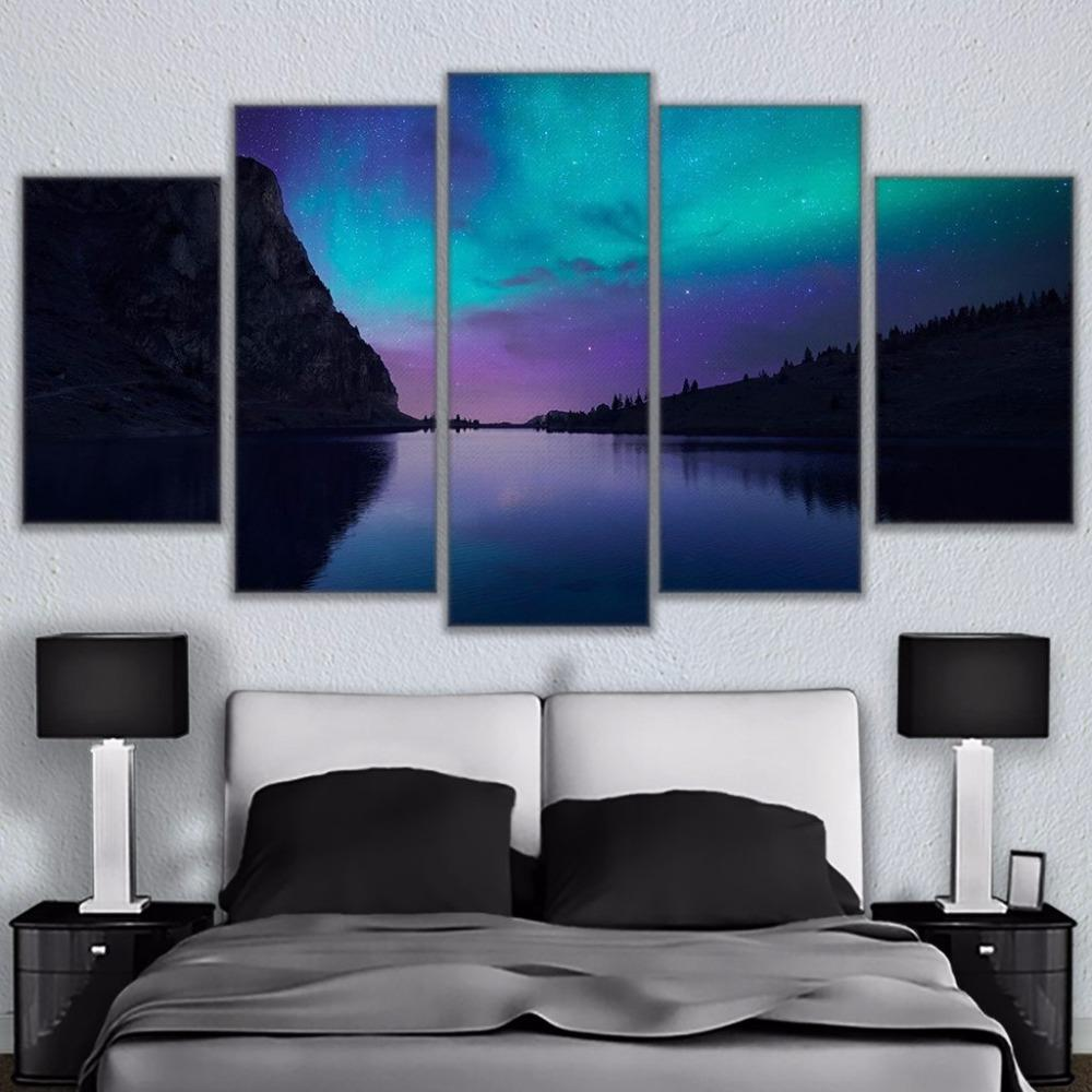 ... 5 Piece Aurora Borealis Light Mountain Nature Canvas Wall Art Paintings    It Make Your Day ...