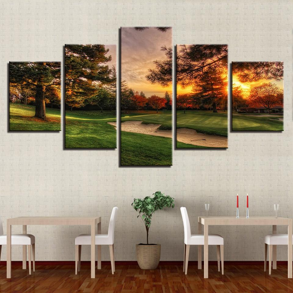 5 Pieces Golf Course Trees Sunset Canvas - It Make Your Day