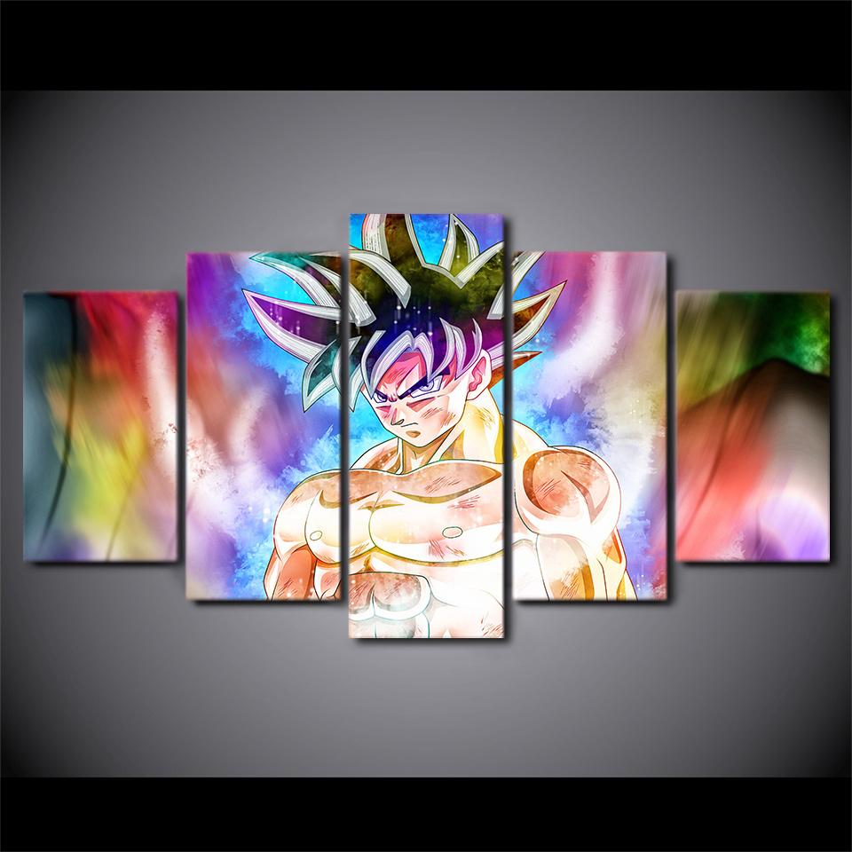 Framed 5 Piece Dragon Ball Goku Animie Canvas Wall Art Paintings - It Make Your Day