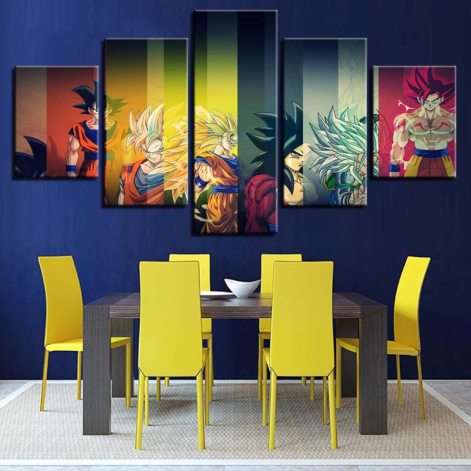 Framed 5 Piece Cartoon Anime Dragon Ball 8 Canvas Art Paintings Sale ...