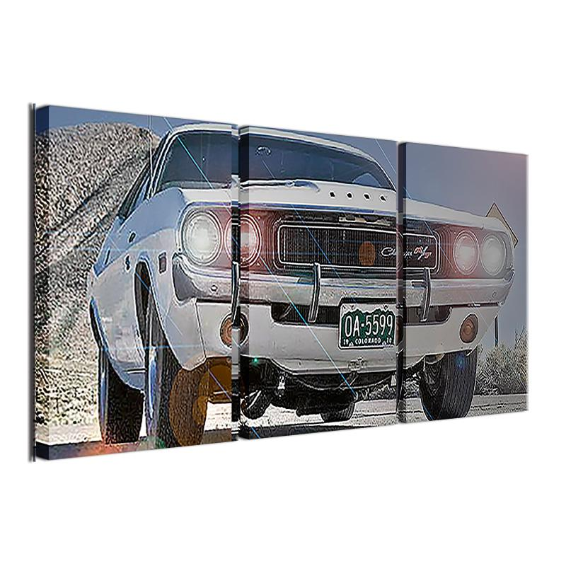 3 Piece White Car Landscape Canvas Wall Art Sets - It Make Your Day