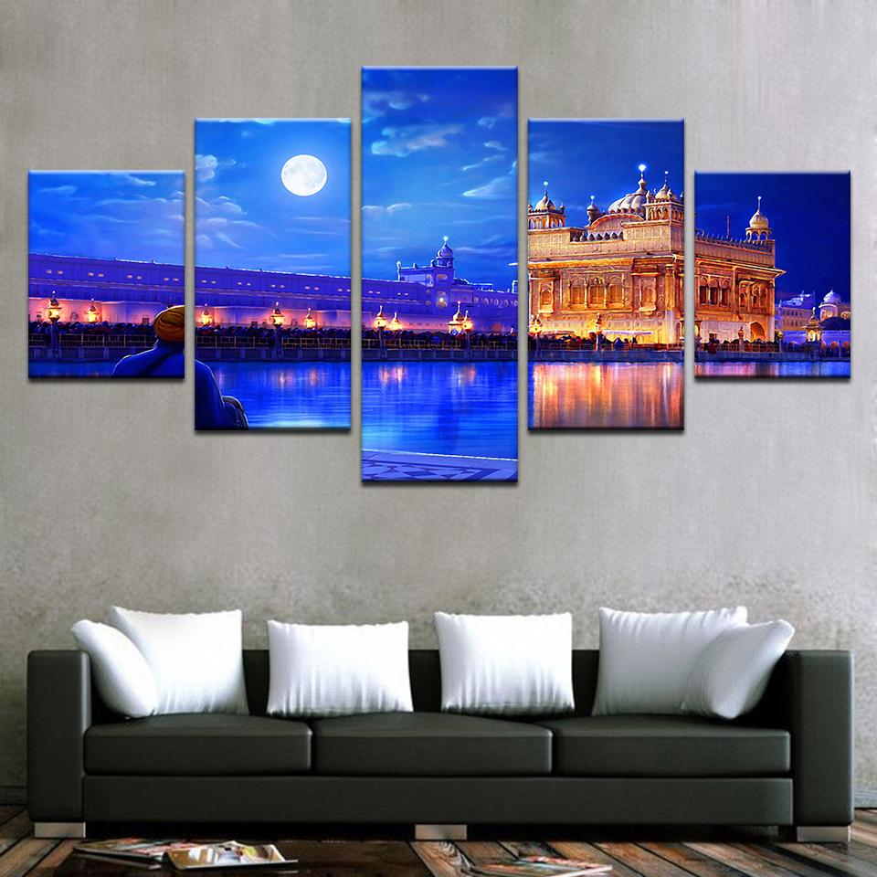 5 Pieces Indian Golden Temple Canvas - It Make Your Day