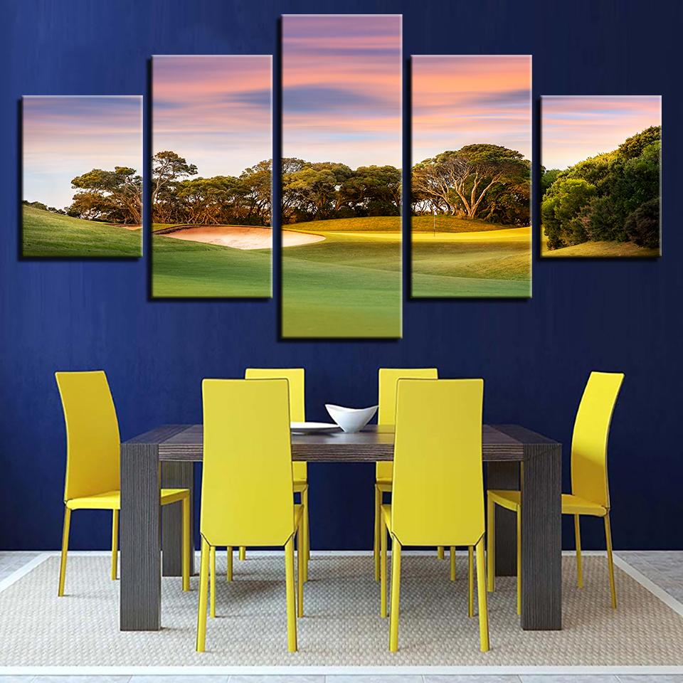 5 Pieces Sunset Golf Course Canvas Wall Art Paintings Print For Sale ...