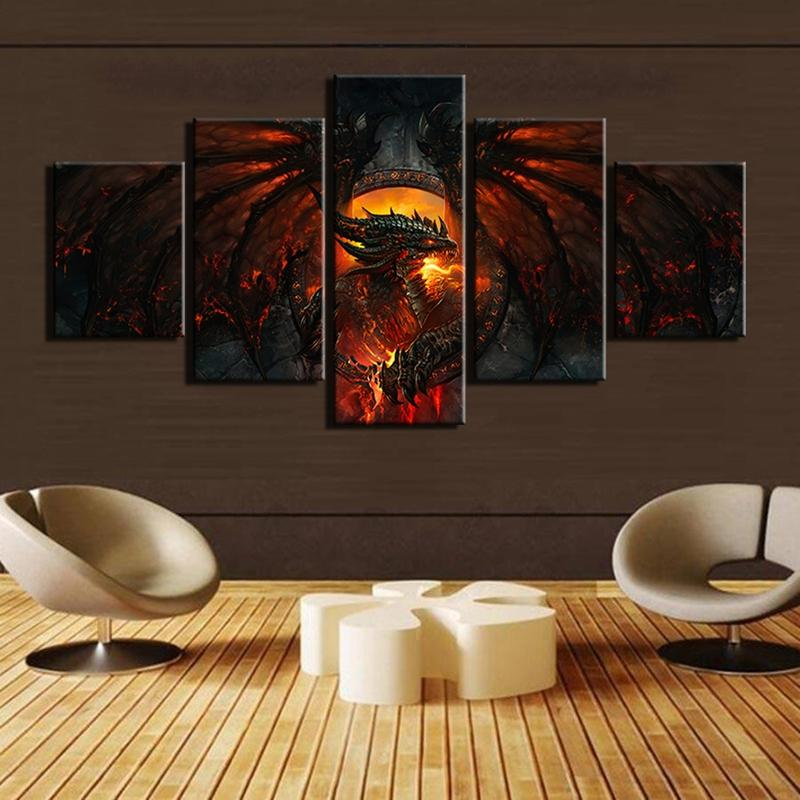 Framed 5 Piece World Of Warcraft Fiery Dragon Game Canvas Wall Art  Paintings   It Make