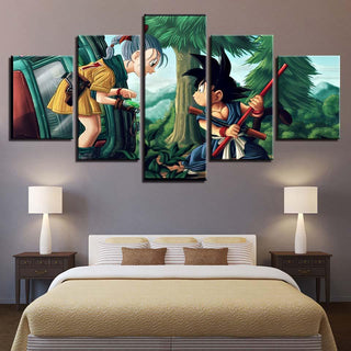 Framed 5 Piece Cartoon Anime Dragon Ball 20 Canvas Wall Art Paintings - It Make Your Day