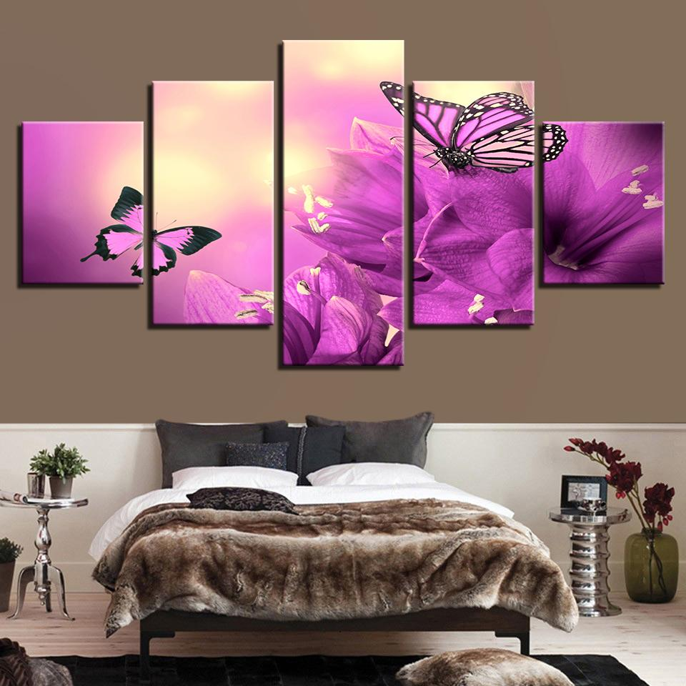 Framed 5 piece beautiful purple flowers butterflies canvas wall art framed 5 piece beautiful purple flowers butterflies canvas wall art sets it make your day izmirmasajfo