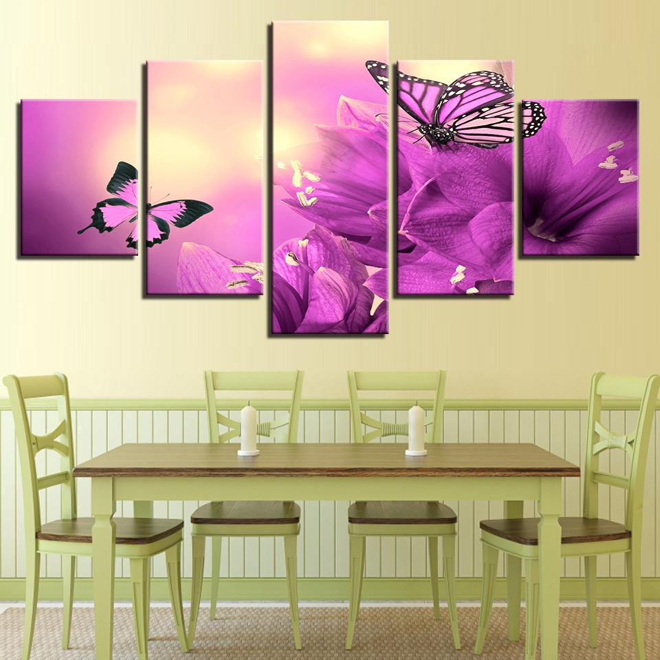 Framed 5 Piece Beautiful Purple Flowers Butterflies Canvas Wall Art ...