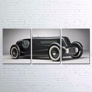 3 Panel Retro Black Luxury Vintage Car Canvas - It Make Your Day