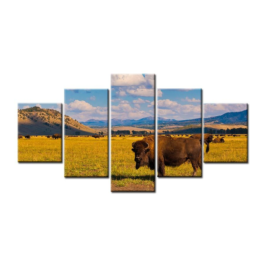 5 Pieces Grass on the Cattle Blue Skies Canvas Paintings - It Make Your Day