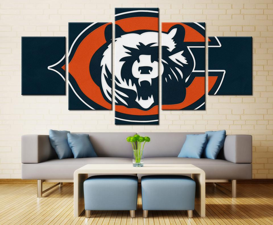 5 Piece Chicago Bears American Football Canvas Painting Wall Art   It Make  Your Day