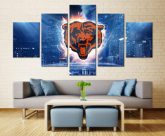 5 Piece Chicago Bears City Football Canvas Wall Art Paintings