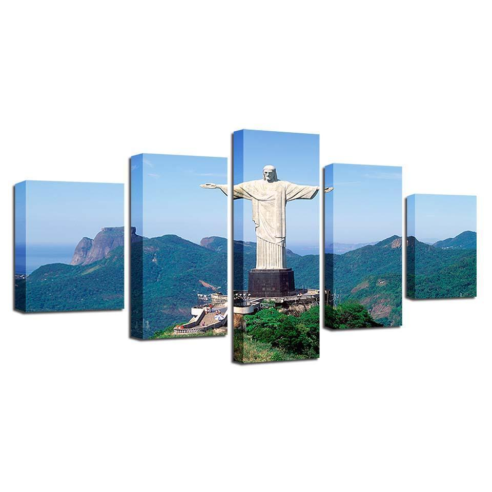Framed 5 Piece Christo Redemptor Canvas - It Make Your Day