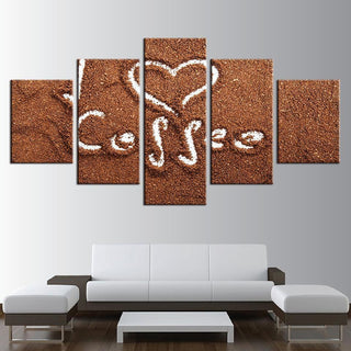 Framed 5 Piece Coffee Collection - Draw Love Canvas - It Make Your Day