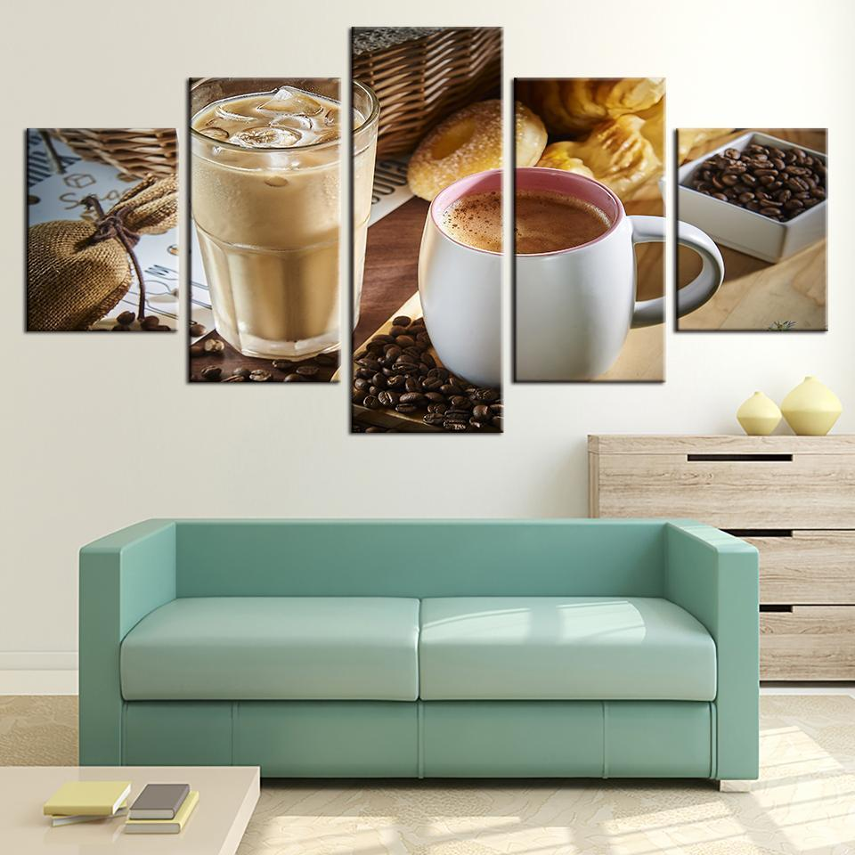 Framed 5 Piece Coffee Collection - Iced Coffee Canvas - It Make Your Day