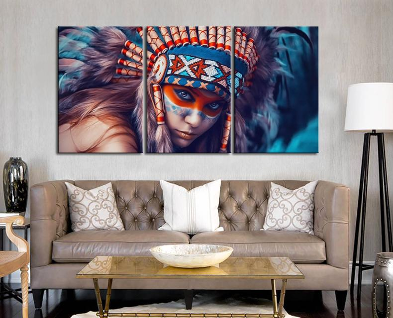 3 Piece Native American Feathered Women Canvas Wall Art Paintings ...
