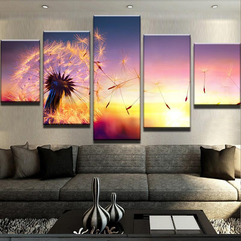 5 Piece Dandelion Sunset Flowers Canvas Wall Art Paintings - It Make Your Day