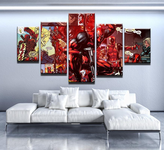 5 Piece Deadpool Comic Canvas Wall Art Paintings - It Make Your Day