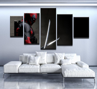 5 Piece Deadpool Darkness Canvas Wall Art Paintings - It Make Your Day