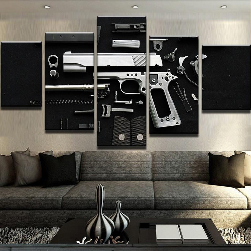 5 Piece Disassembled Gun Canvas Wall Art Paintings - It Make Your Day