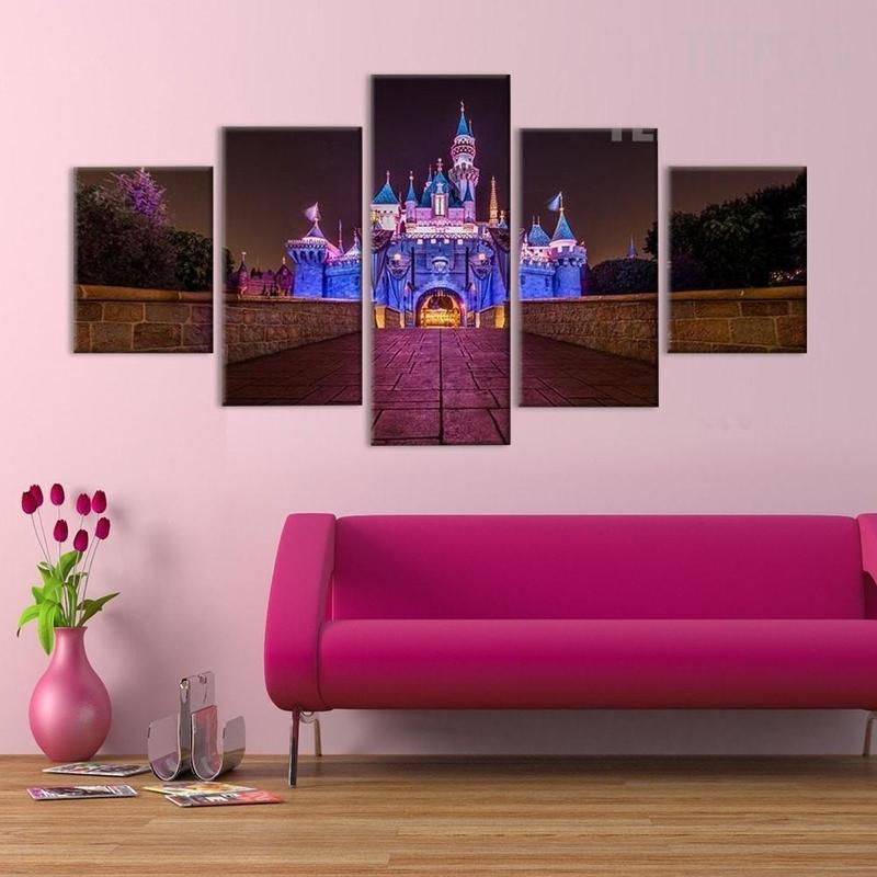 5 Piece Disney Castle At Night Time Canvas Wall Art Paintings - It Make Your Day & 5 Piece Disney Castle At Night Time Canvas Wall Art Paintings For ...