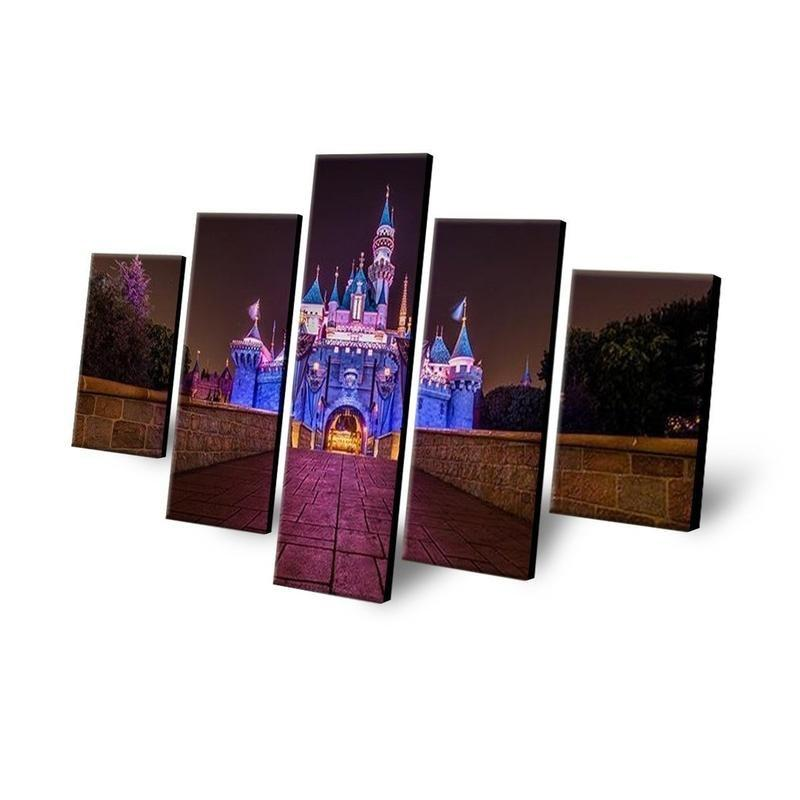 5 Piece Disney Castle At Night Time Canvas Wall Art Paintings - It Make Your Day