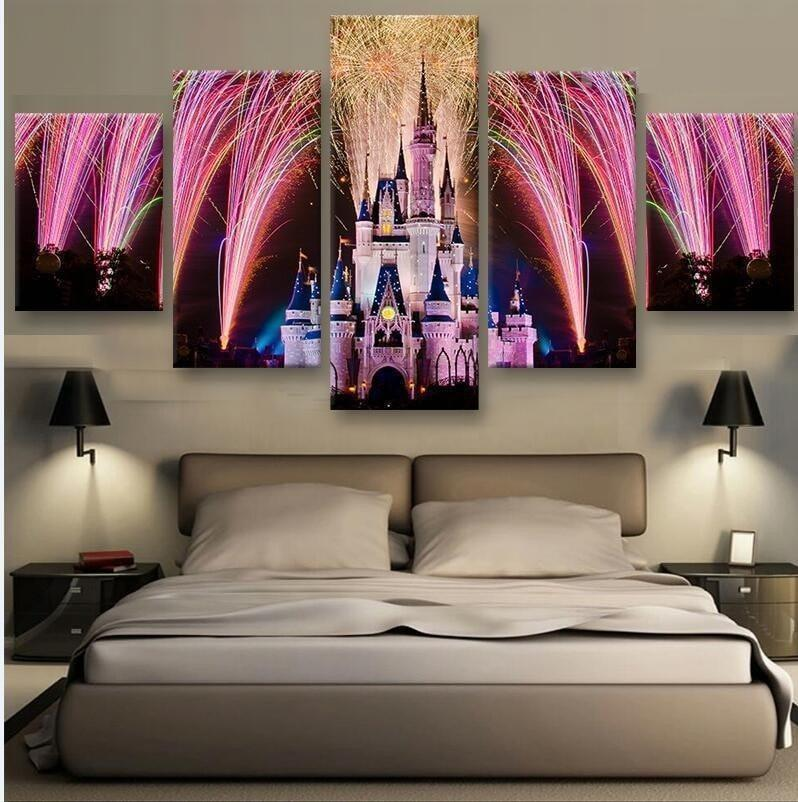 5 Piece Disney Celebration Canvas Wall Art Paintings - It Make Your Day