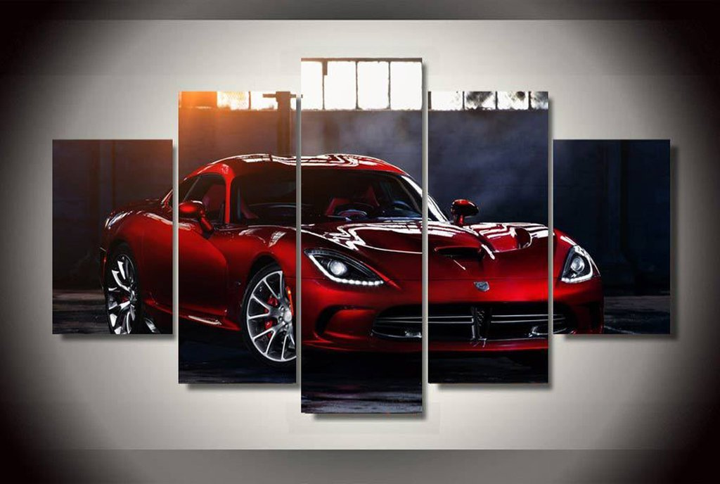 5 Piece Dodge Viper SRT GTS Car Canvas Wall Art Sets - It Make Your Day