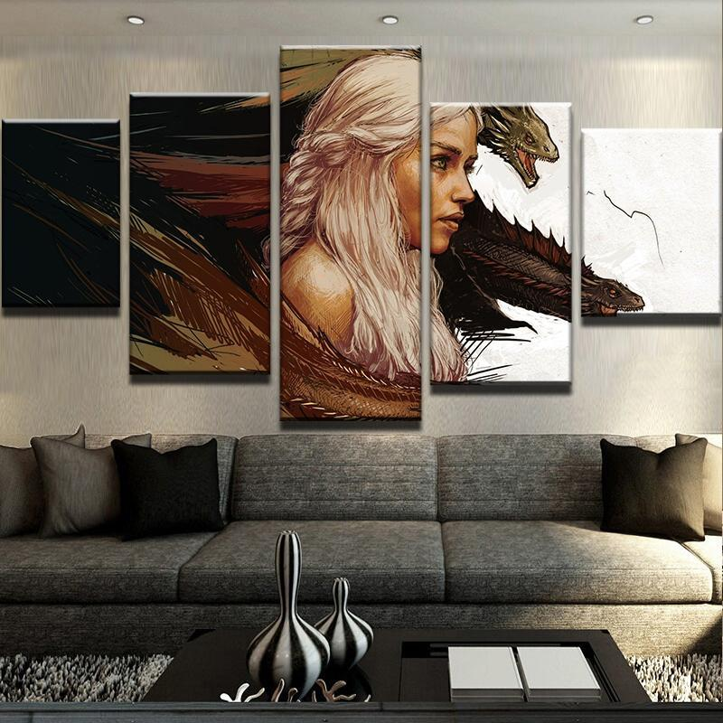 5 Piece Dragon Queen Canvas Wall Art Paintings - It Make Your Day