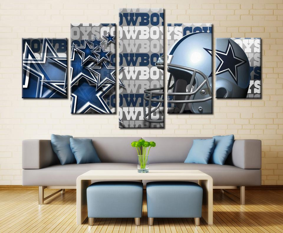 5 Piece Dallas Cowboys Helmet Football Canvas Painting Wall Art - It Make Your Day