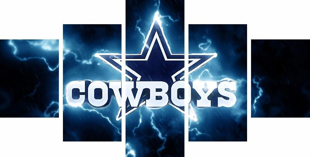 5 Piece Dallas Cowboys Logo Sports Canvas Paintings - It Make Your Day