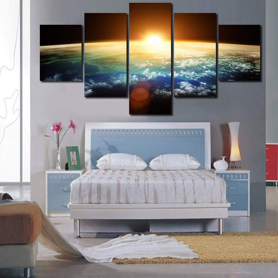 5 Piece Dawn of the Universe Canvas Painting Wall Art - It Make Your Day