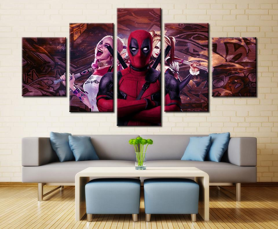 5 Piece Deadpool With Harley Quinn Movie Canvas Painting Wall Art - It Make Your Day