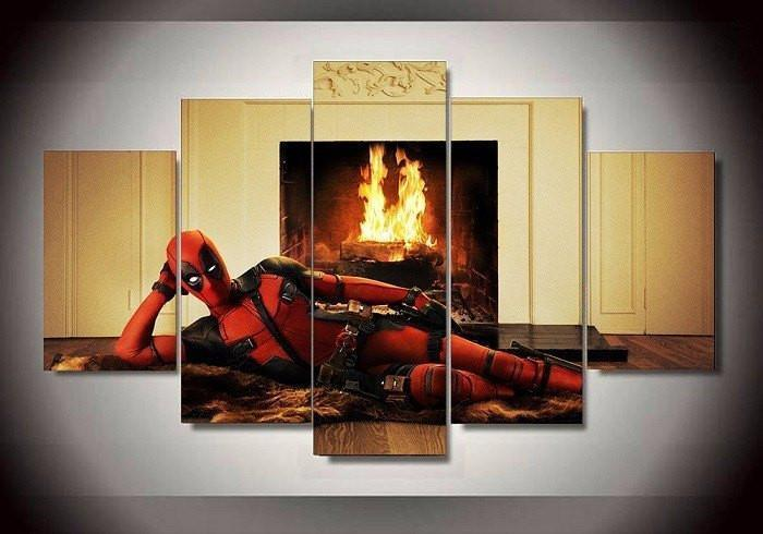 5 Piece Deadpool Hero Movie Marvel Canvas Wall Art Paintings For ...