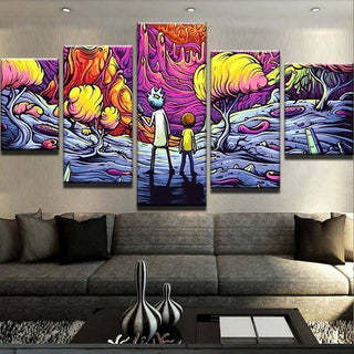 5 Piece The Psychedelic Rick And Morty Canvas Wall Art Paintings - It Make Your Day