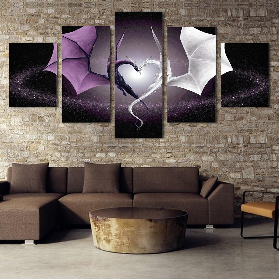 Framed 5 Piece Dragon Love Canvas Wall Art Paintings For Sale It
