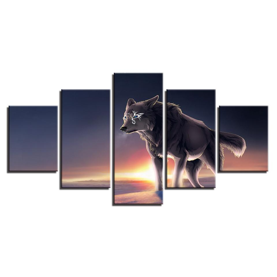 5 Pieces Wolf Landscape Canvas Paintings - It Make Your Day