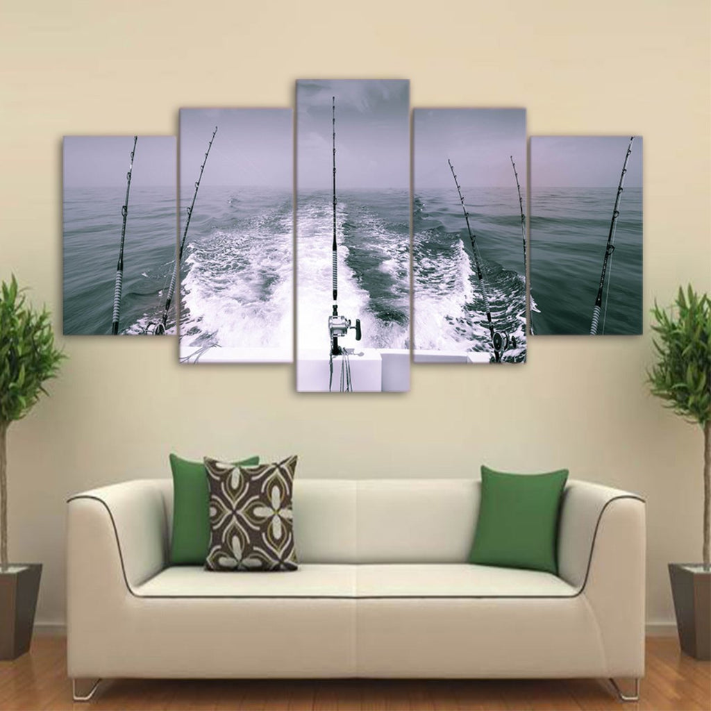 5 Pieces Deep Sea Fishing Black & White Version Canvas - It Make Your Day