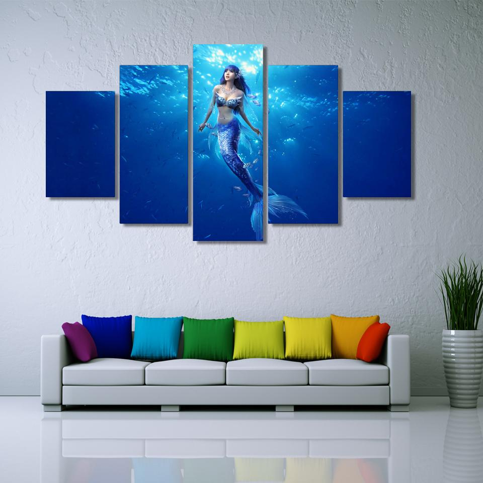 5 Piece Deep Blue Ocean Mermaid Landscape Canvas Wall Art Paintings - It Make Your Day