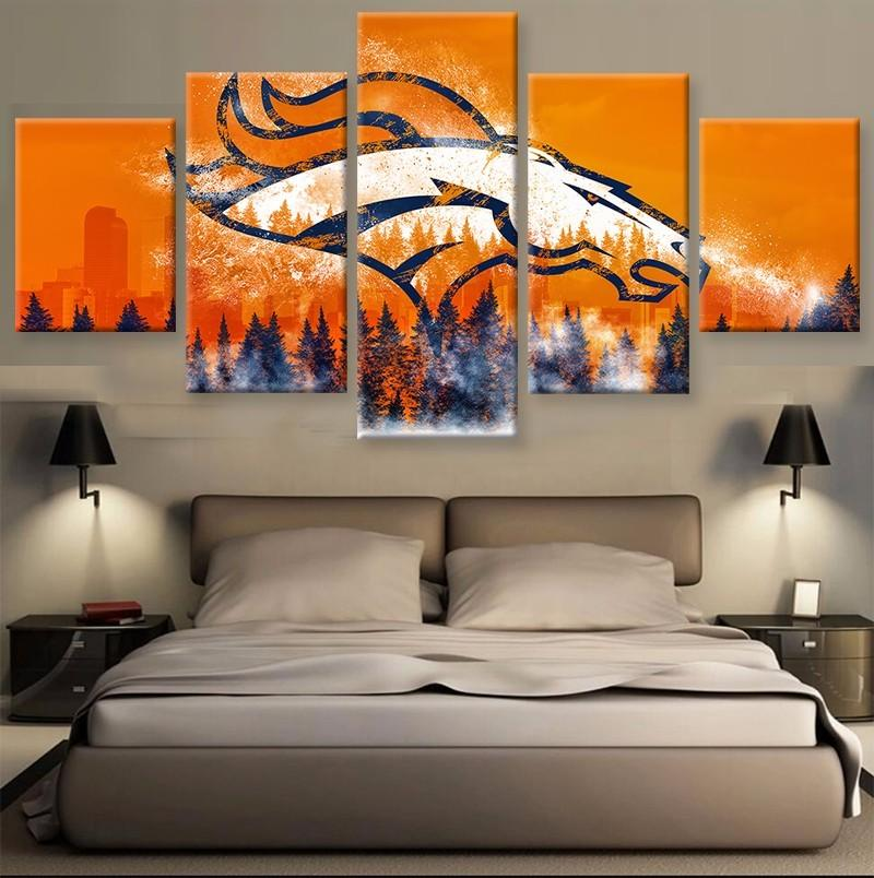 5 Piece Denver Broncos American Football Canvas Painting Wall Art - It Make Your Day