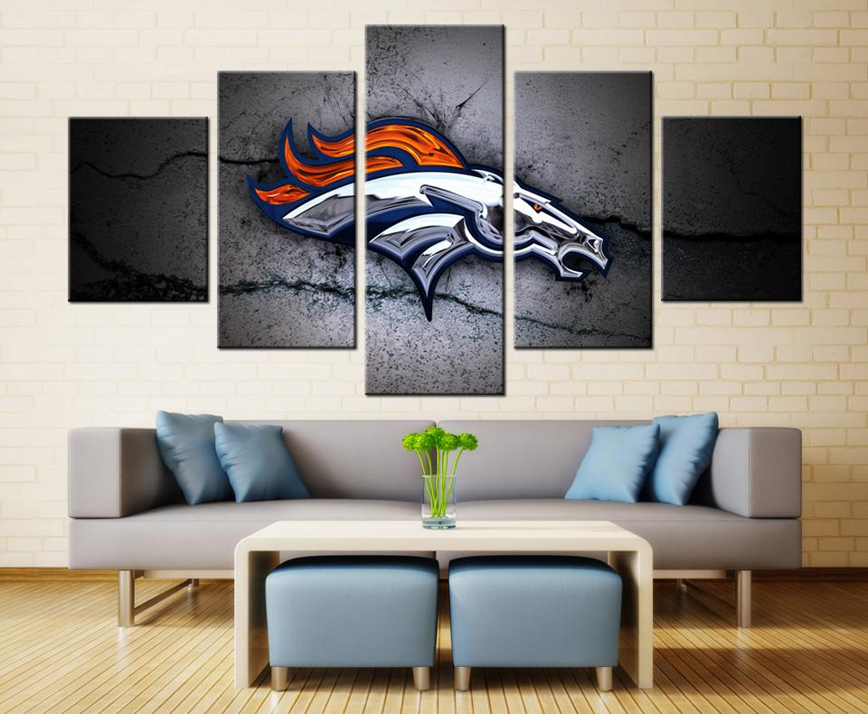 5 Piece Denver Broncos Logo Sports Canvas Paintings - It Make Your Day