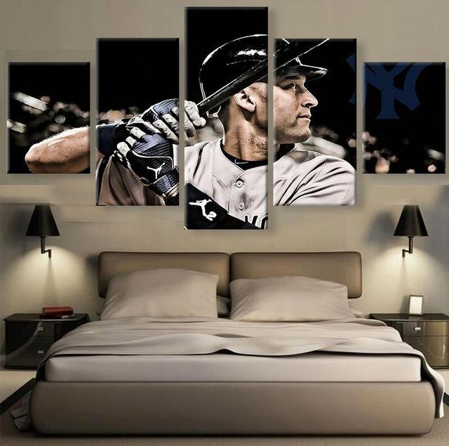 5 Piece Derek Jeter Player Baseball Canvas Painting Frames - It Make Your Day