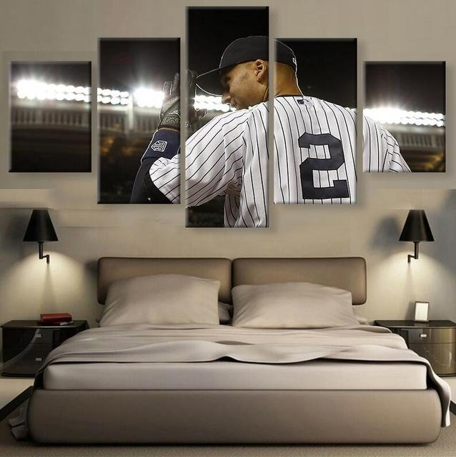 5 Piece Derek Jeter Baseball Canvas Painting Frames - It Make Your Day