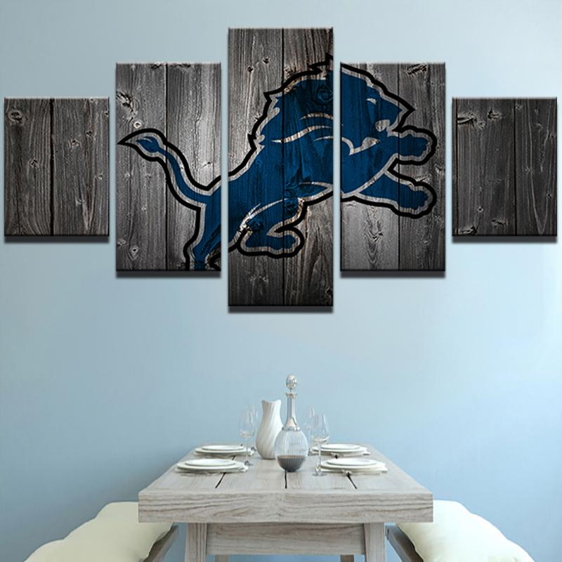 5 Piece Detroit Lions American Football Canvas Painting Wall Art - It Make Your Day